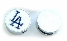 Wholesale La Dodgers - Internal Dia. 8MM DIY Alloy LA Dodger Slide Charm Fit For Phone Strips Leather Wristband Necklace Fashion Jewelrys