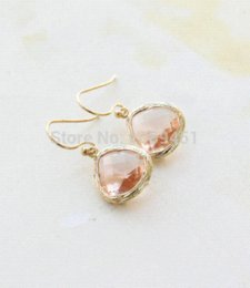 Wholesale Peach Sapphires - Wholesale 10pcs Peach Stone Earrings Gold Eariings for women wedding Bridesmaid Gift gold sapphire stud earrings