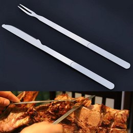 Wholesale Heating Knife - Stainless Steel Barbecue Special Fork Knife Long Handle Outdoor Picnic BBQ Tools Creative Restaurant Hotel Barbecue Supplies