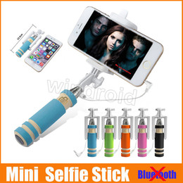 Wholesale Stainless Cell Phone - Portable Mini Selfie Stick Cell Phone Clip Holder All IN ONE Cable Take Pole Wired Control Monopod For iPhone Samsung Free shipping 100pcs