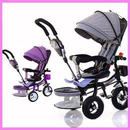 Wholesale Baby Tricycles - Wholesale-Child Tricycle Folding Bicycle Three Wheel Baby Bike Stroller Rotating Seat Baby Carriage Pushchair By Pram for Kids Trolley