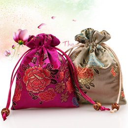Wholesale Perfume Storage - Peony Flower Thick Small Cloth Bag Drawstring Silk brocade Gift Packaging Pouch Jewelry Makeup Perfume Coin Trinket Storage Pocket 50pcs lo