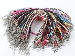 Wholesale Leather Bracelets Letters - 100pcs lot Multicolor Leather Braided Charm Chains Big Hole Beads Bracelets Love For Bead Lobster Clasp