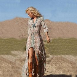 Wholesale Three Floor Fashion - summer women long dress Bohemian Loose Print dress Three Quarter V-Neck Floor-Length with Sashes dresses new fashion style