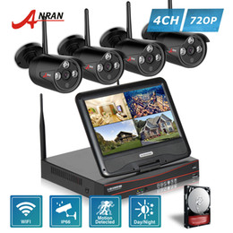 Wholesale Array Networks - ANRAN P2P Surveillance CCTV 4CH NVR 7 Inch LCD Monitor Array IR Waterproof Network 720P IP Wireless Camera Security WIFI System HDD