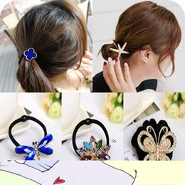 Wholesale Cotton Rope For Sale - SALE! 2015 Fashion Cute Full Crystal Flower Elastic Hairband Rope Rubber Band Hair Accessories For Women Girl Elegant Headwear 20 PCS