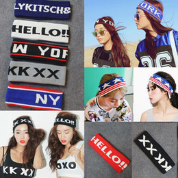 Wholesale Knitted Headband Patterns - Harajuku Sports Stretch Woolen Knitted Headbands Men Women Alphabet Letters Punk Pattern Headdress Hair Band jewelry