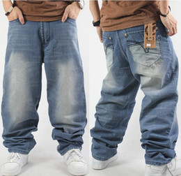 Wholesale Relaxing Lights - Fashion Man loose jeans hiphop skateboard jeans baggy pants denim pants hip hop men trousers 4 Seasons big size 30-46 QB76