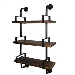 Wholesale Uk Bathrooms - 3-Tier Rustic Industrial Iron Pipe Wall Shelves Wood Planks Bookcase Storage Floating Shelf for Home US UK FR DE Stock