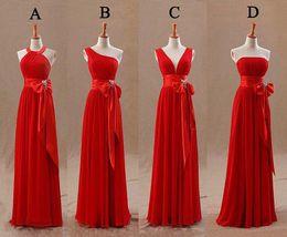 Wholesale Short Dress Knot - Fashion Red Bridesmaids Dresses Tight Pleats Elegant Bow Knot Chiffon Long Designer Plus size Bridesmaid Party Dresses