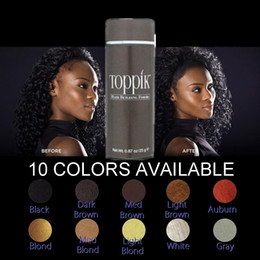 Wholesale Brown Salon - Toppik Black Brown Blond 10 Colors Hot Sale Salon Hair Loss Product Men Women Hair Fibers Thin Hair loss Treatment 25g