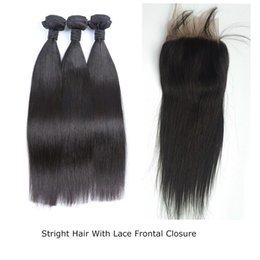Wholesale natural weave styles - Brazilian Virgin Hair straight Free Style Lace Frontal closure With Baby Hair with 3 Bundles Natural Color Frontal lace closure G-EASY