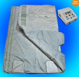 Wholesale Infrared Blanket Therapy - Newest model Detox FIR FAR INFRARED SAUNA BLANKET Body Slimming WEIGHT LOSS heating Therapy beauty SPA machine 2 Zone