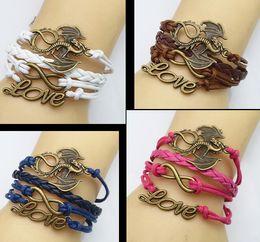 Wholesale Jewellery Clasps China - 2015 new woven charm bracelets,cheap leather bracelets jewellery,china (Infinity + love + dragon) bracelets,Friendship fashion jewelry.HZ
