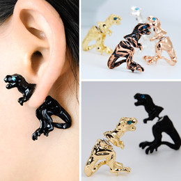 Wholesale Trendy Ear Cuffs - Stud Earrings Wholesale Fashion brincos arete Trendy Personality Metal Gold Sliver plated 5 Colors Ear Clip Cuff Punk Stud Earring for women