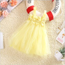 Wholesale dress sling - Children wedding white princess summer dress girls lace Sling flowers dress kids children candy color party beach dresses TUTU shirts gift