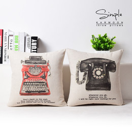 Wholesale Telephone Cases - European Retro Vintage Style Telephone Typewriter Cushion Covers Life English Letters Cushion Cover Decorative Linen Cotton Pillow Case