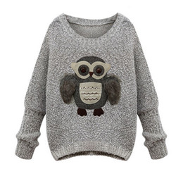Suéteres de invierno búho online-Estilo europeo Suéteres y Pullovers de Mujer Suéter de Punto Suéter Cálido Gris Suéteres de Gran Tamaño Moda Otoño Invierno