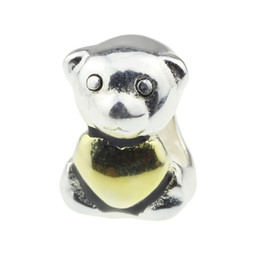 Wholesale hunter bear - Beads Hunter Jewelry Authentic 925 Sterling Silver Loving Gold Plated Teddy Bear Charm big hole bead For 3mm European Bracelet snake chain