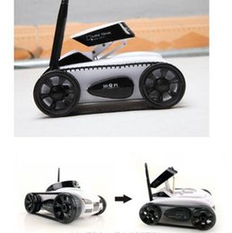 Wholesale 4ch Wifi Iphone - New RC Mini Tank Car Spy with Video 0.3MP Camera WiFi Remote Control By iphone Android Robot with Camera 4CH White Grey DHL fast shipping