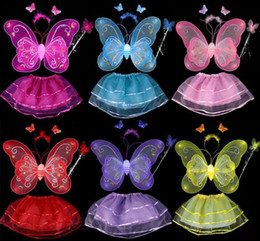 Wholesale Chinese Outfits Children - Hot sale#Lovely Girl Butterfly Wings Fairy Child Custome Tutu Dress Up Outfits 4 Sets New Offering Discounts