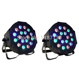 Wholesale Dj Stage Lights Equipments - Wholesale-18*3W Led Stage Light High Power RGB Par Light With DMX512 Master Slave Led Flat DJ Equipments Controller,DHL Free shipping