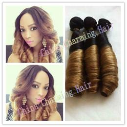 Wholesale Ombre Funmi Hair - Best Quality Brazilian 7A Virgin Aunty Funmi hair,#1b 27 Honey Blonde Ombre Funmi Romance Curly Hair Weave Extension 3pcs Lot Two Tone Weft