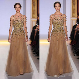 Wholesale Evening Dress Pagent - 2016 Elie Saab Long Sleeve Evening Dresses Bateau Illusion Shher Neck Emiper Waist with Gold Bead Champagne Pagent Dresses