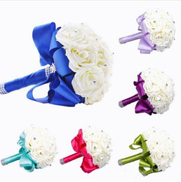 Wholesale Mint Wedding Decorations - 2015 New Bridal Bouquet Wedding Decoration Artificial Bridesmaid Flower Crystal Silk Rose Royal Blue White Green Lilac Fuchsia Mint 6 Colors