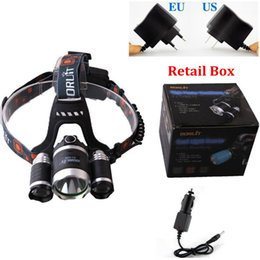 Wholesale Led Lumen - 5000 Lumen LED Headlamp 18650 Headlight CREE XM-L T6+2R5 Head Torch Lamp + AC Charger + Car Charger For Outdoor Camping
