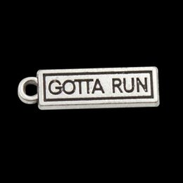 Wholesale Wholesale Vintage Runners - Hot Message Charms Alloy GOTTA RUN Vintage Charms Marathon Sport Runner Charms Bangle Making 6*21mm AAC822