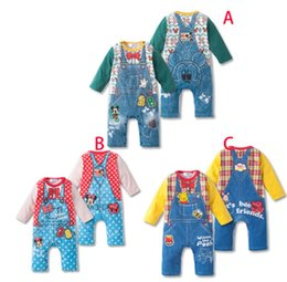 Wholesale Wholesale Conjoined - 2014 baby clothes rompers conjoined creeper Minnie Mickey cartoon ha Yi boy girl baby B001