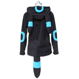 Wholesale Outwear Tail - Fashion Anime Shiny Umbreon Women Men Zip Hoodie with Ears Tails Cosplay Costume Hoody Jacket Coat Outwear Hooded Sweatshirt