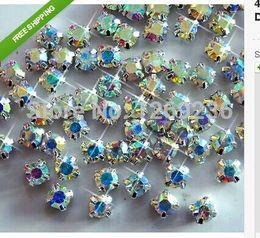 Wholesale Rhinestone 5mm - Wholesale-Loose beads Free shipping 720pcs 5mm 5 Gross CLEAR AB SEW-ON GLASS DIAMANTE RHINESTONE CRYSTAL m08