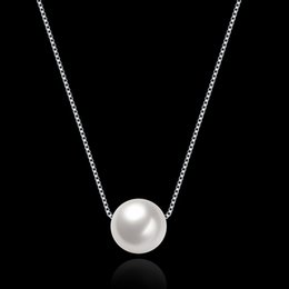 Wholesale White Pearls Necklace Designs - 925 Sterling Silver White Pearl Pendant Necklace Valentine Christmas Anniversary Party Wedding Gifts for Women Girl Friend Fashion Design