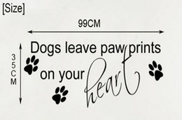 Wholesale Dog Wall Quotes - Free Shipping Large Size:35H x 99W cm Dogs Leave Paw Prints Wall Sticker Quote Vinyl Decal Mural Art Transfer