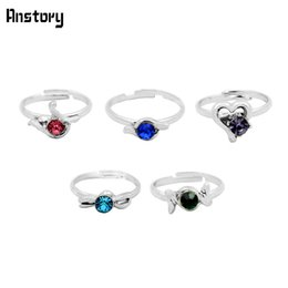 Wholesale kid rings adjustable - Wholesale- 40pcs Children Crystal Rings Wholesale Lot Assorted Cute Kid Gift Party Adjustable Silver Plated Fashion Jewelry