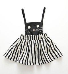 Wholesale Dresses Baby Cool - 2016 girls cool black white stripes short dress lolita cat dress suspender skirt baby girl girls slip dress kids cat striped dress