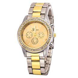 Wholesale geneva watch bling - Watch Geneva Unisex Quartz Watch Women Analog Wristwatches Bling Crystal Clocks Stainless Steel Watch Relogio Reloj