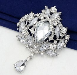Wholesale Sapphire Party Dress - Brooches Luxury Fashion Multicolor sapphire Water Drop Rhinestone brooches badges with pin Large women Jewelry wedding dresses Gifts Mix DR