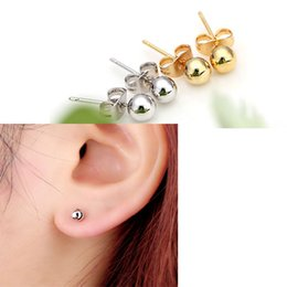 Wholesale Mens Round Earrings - Unisex Womens Mens 18K Yellow Gold&Silver Platinum Plated Mini Round Bead Ball Stud Earrings Jewelry Wholesale New Arrival