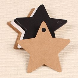 Wholesale Recycled Crafts - Wholesale- 6*6cm Kraft Star Paper Gift Cards Tags for Wedding Party Favor Gift Decoration Scrapbooking Paper Crafts 100pcs