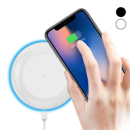 Wholesale Light Apple Car Charger - 2018 For Iphone X UFO Fast Quick Qi Charger wireless charger charging With Led Light With Cable For iphone x