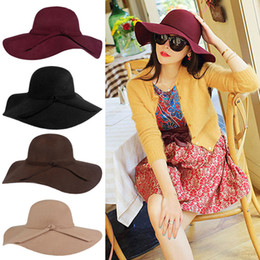 Wholesale Womens Hats Wide Brim - Womens Hats Fascinator Hats For Women Cap Lady Wide Brim Wool Felt Bowler Fedora Hat Floppy Hats For Women Hats Winter Hats