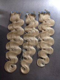 """Wholesale Body Skin Glue - INDIAN REMY Hair 16"""" 18"""" 20"""" 22"""" 24"""" 100g 40pcs #613 Body Wave Tape In Hair Glue Skin Weft Hair Extension"""