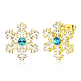 Wholesale Gold Snowflake Stud Earrings - Christmas Snowflake Earrings Yellow Gold Plated Rose Gold Platinum Girls Women Teens Party Cocktail Jewelry Free Shipping