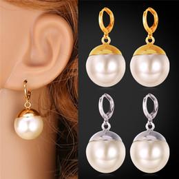2019 color crema de perlas 2015 nuevas mujeres de moda 18K chapado en oro real / chapado en platino grandes pendientes de gota de perlas de color blanco crema rebajas color crema de perlas