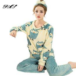 Wholesale Online Marketing - Housewear Pijama Set Chinese-Market-Online Sleepwear Pijama Feminino Two Piece Set Arctic Velvet Autumn Winter Animal Pajamas