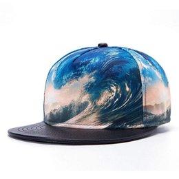 Wholesale Table Waves - Wholesale-2015 New Arrival Snapback Hat Bone Snap Back gorras Men Hip Hop Paisley Cap Sport Baseball Cap Fashion Flat-brimmed sea wave Hat