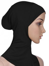 Wholesale Wholesale Designer Beachwear - 2017 New Arrival Designer Full Cover Inner Muslim Cotton Hijab Cap Islamic Head Wear Hat Underscarf Women Muslims Hat